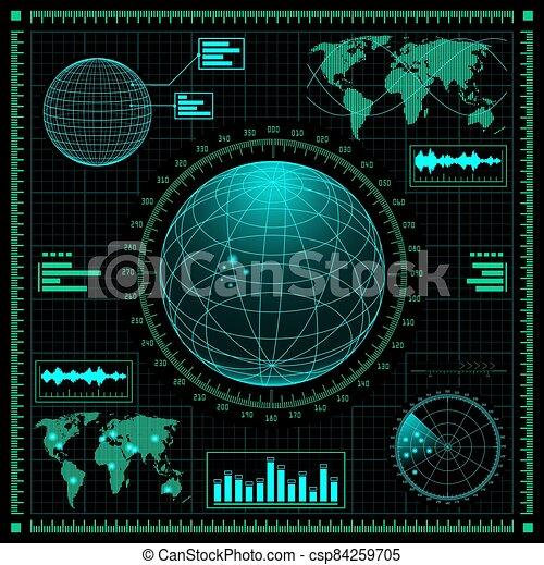 graphique, interface, futuriste, utilisateur, ensemble, hud - csp84259705