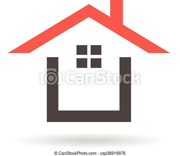 Graphique Maison Toit Vecteur Conception Logo Rouges