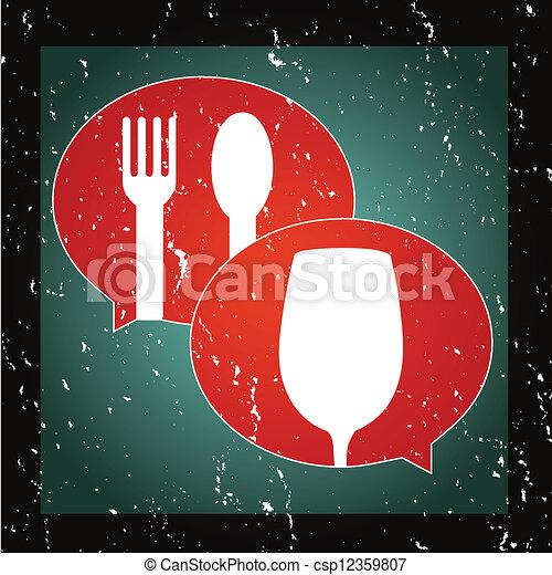 graphique, nourriture, boisson, ou, parler, icône - csp12359807