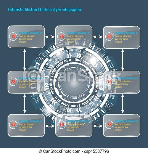 graphique, résumé, techno, utilisateur, interface., cercle, infographic., futuriste - csp45587796
