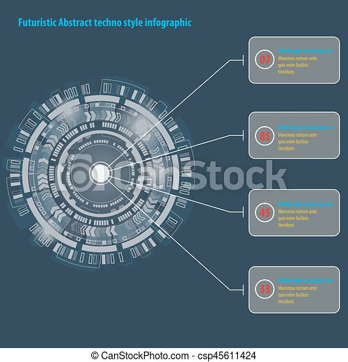 graphique, résumé, techno, utilisateur, interface., cercle, infographic., futuriste - csp45611424