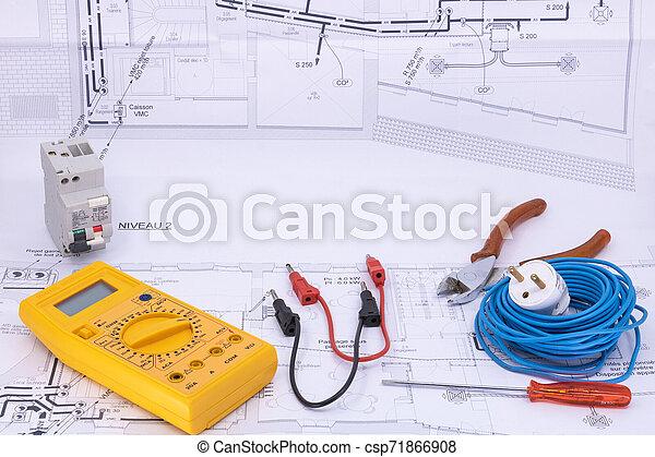 graphique, ressource, électricité, maison, équipement, plan, électricien, occupation - csp71866908