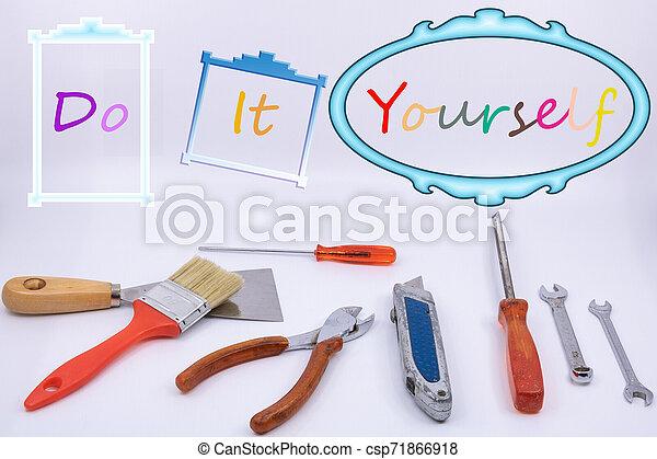 graphique, ressource, bricoleur, -, isolé, vous-même, objets, bricolage, fond, il, blanc - csp71866918