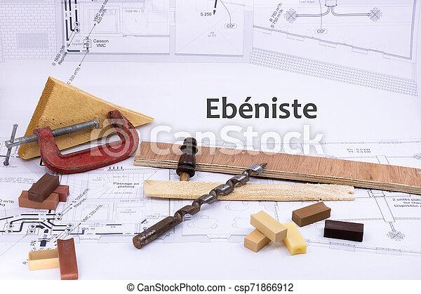 graphique, ressource, (ebeniste, menuiserie, cabinet, équipement, écrit, travail bois, plan, french), maison, fabricant - csp71866912