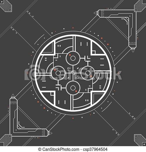 graphique, utilisateur, futuriste, interface. - csp37964504