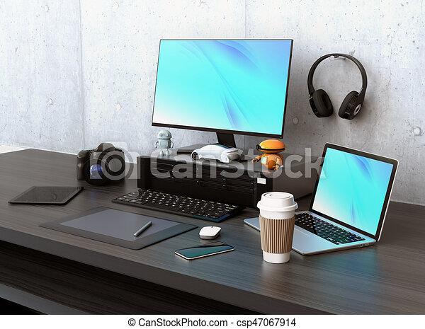Intérieur de bureau moderne avec des plantes en pot chaise table