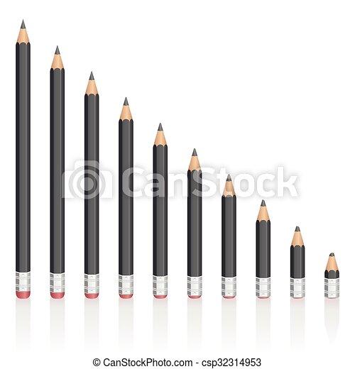 Graphite Pencils Reduction Sizes - csp32314953