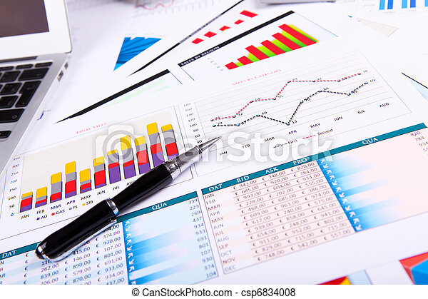 Graphs, charts, business table. - csp6834008