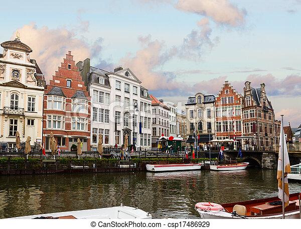 Graslei harbor in old town  , Ghent - csp17486929