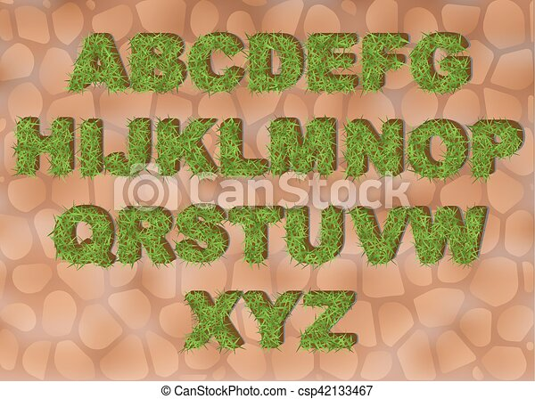 Line Art Letters : Grass alphabet depicting letters with spring green clip