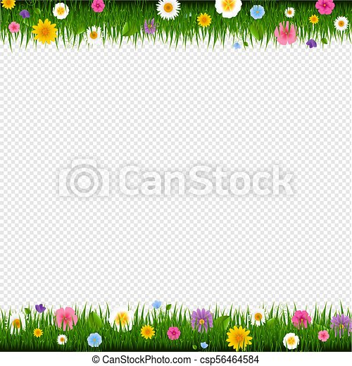 Grass And Flowers Border Transparent Background - csp56464584