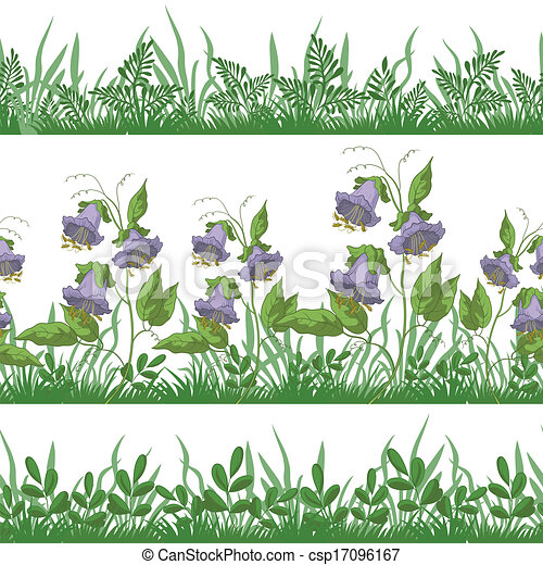 Grass and flowers, set seamless - csp17096167