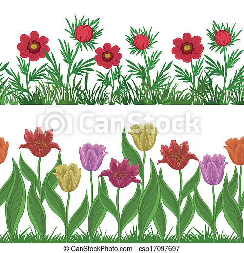 Grass and flowers, set seamless - csp17097697