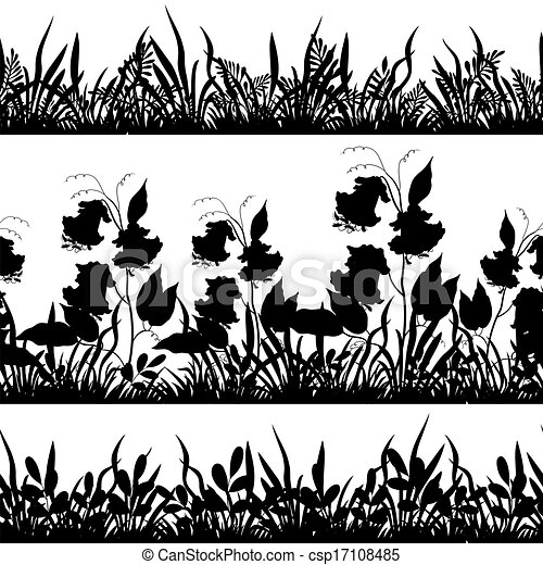 Grass and flowers silhouette, set - csp17108485