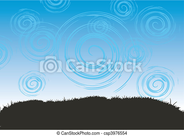 Grass and sky, abstract background - csp3976554