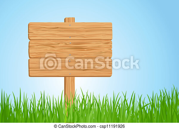 Grass and Wooden sign illustration - csp11191926