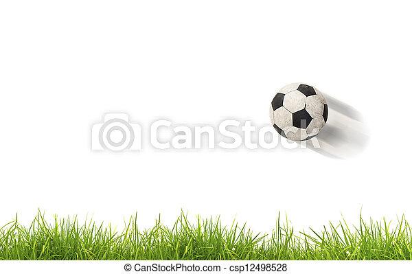 grass., futbol, aislado, pelota - csp12498528