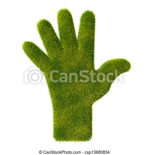 Grass hand icon. Five fingers - csp13680834