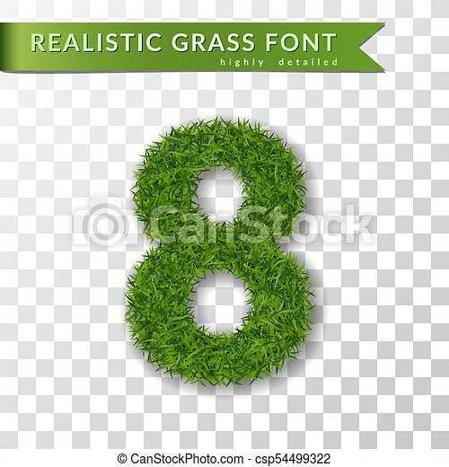 Grass number eight. Green number 8 isolated white transparent background. Green grass 3D eight, fresh symbol of nature, plant lawn, summer. Grass texture spring font. Eco design. Vector illustration - csp54499322