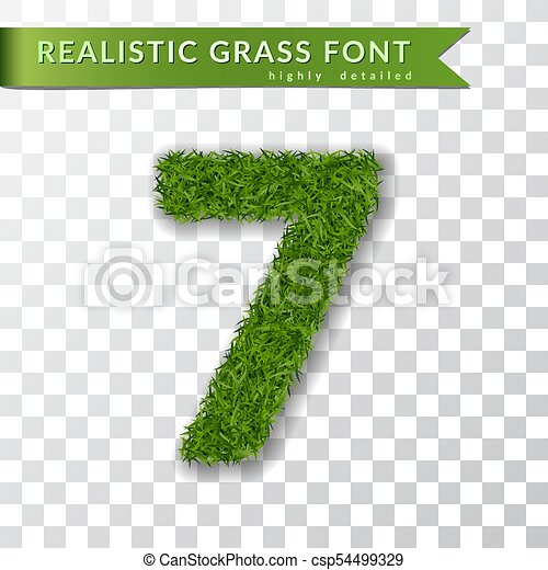Grass number seven. Green number 7, isolated on white transparent background. Green grass 3D seven, fresh symbol nature, plant lawn, summer. Grass texture spring font. Eco design. Vector illustration - csp54499329