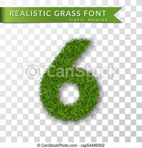 Grass number six. Green number six, isolated on white transparent background. Green grass 3D 6, fresh symbol of nature, plant lawn, summer. Grass texture spring font. Eco design. Vector illustration - csp54499302