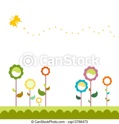 Grass With Flowers Set,  - csp13766473