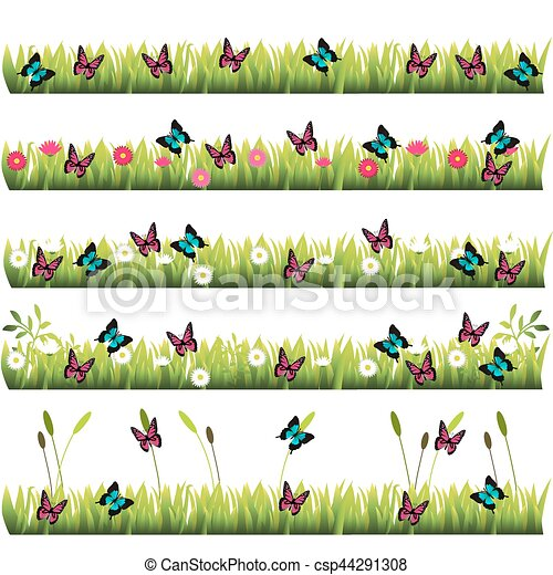 grass with flowers - csp44291308