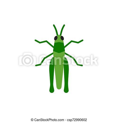 Grasshopper insect cricket single flat vector icon - csp72990602