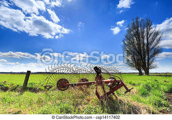 Grassland landscape with beautiful clouds - csp14117402