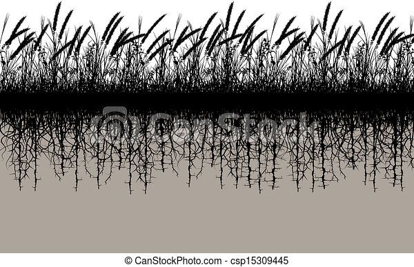 grassroots editable vector silhouette of a grassy meadow