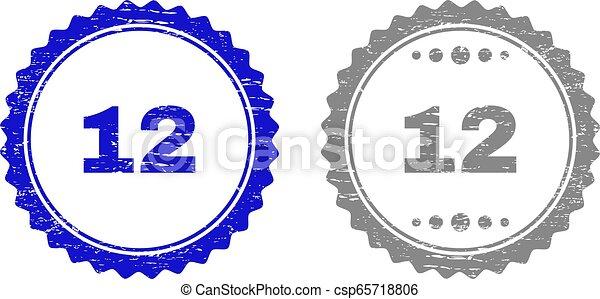 gratté, 12, timbre, cachets, textured, ruban - csp65718806
