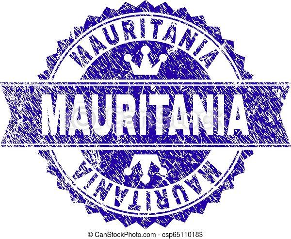 gratté, mauritanie, timbre, cachet, textured, ruban - csp65110183