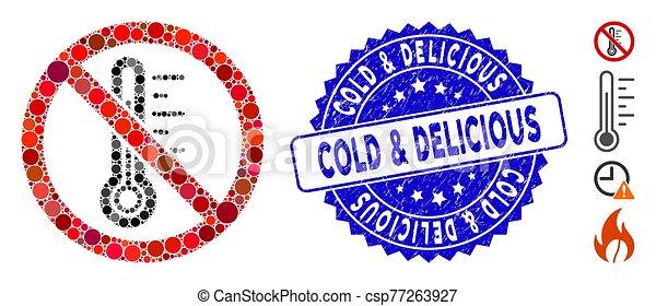 gratté, mosaïque, température, froid, &, icône, non, timbre, délicieux - csp77263927