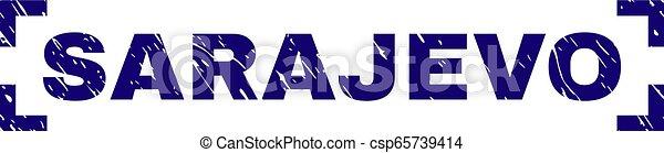 gratté, timbre, coins, intérieur, cachet, sarajevo, textured - csp65739414