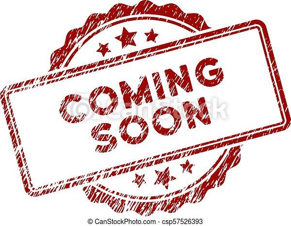 gratté, timbre, textured, bientôt, venir, cachet - csp57526393