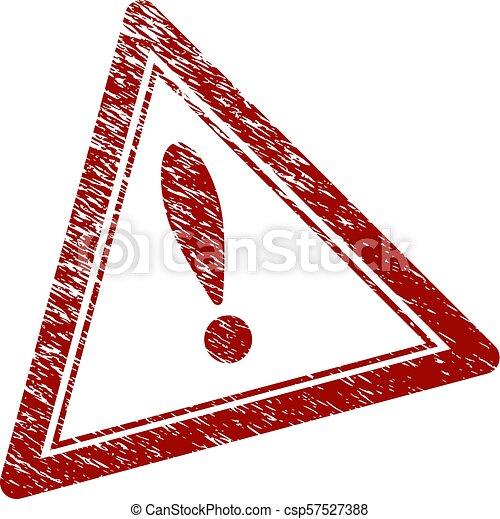 gratté, triangle, timbre, textured, avertissement, cachet - csp57527388