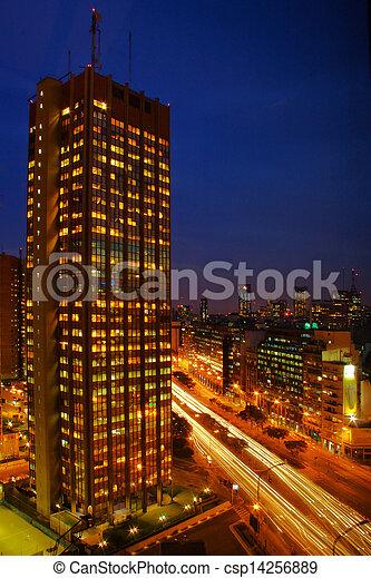 gratte-ciel, nuit - csp14256889
