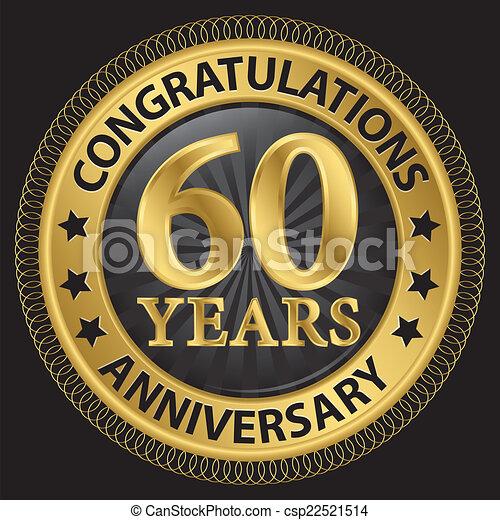 60 års gratulationer Gratulationer, band, guld, årsdag, illustration, etikett, 60  60 års gratulationer