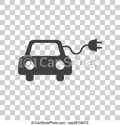 Graue , elektrisch, eco, auto, zeichen., dunkel,... Vektoren ...