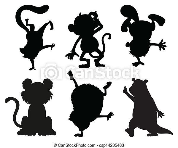 Graue , farben, tiere, silhouetten, schwarz. Graue , tiere ...