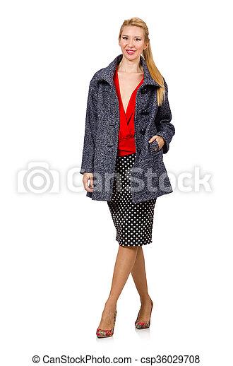 on sale 2034c b74a7 graue , frau, mantel, junger, freigestellt, haar, blond, weißes