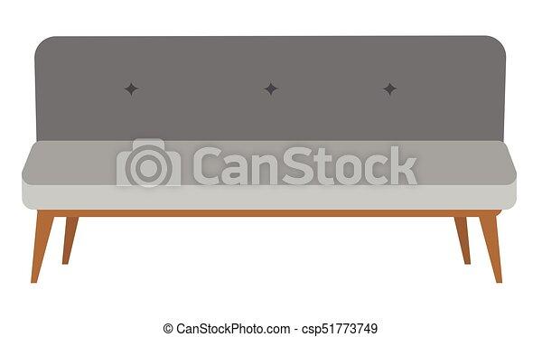 Modernes graues Settee Vektor-Cartoon Illustration. - csp51773749