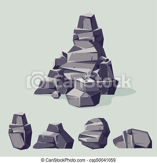 Graue , Isometrisch, Satz, Wohnung, Verschieden, Felsblöcke, Karikatur,  Rocks.