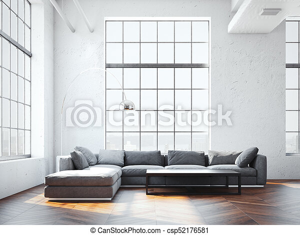 Graue Modern Sofa Gross Ubertragung Inneneinrichtung 3d