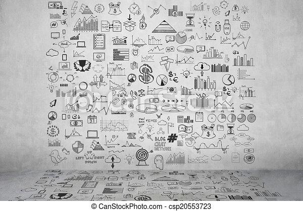 graue , ziehen, elemente, geld- finanzierung, geschaeftswelt, beton, gekritzel, tabelle, muenze, hand, analytics, begriff, einkommen, schaubild, ikone, wall., bank - csp20553723