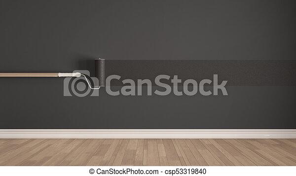 Graue , Zimmer, Minimalist, Gemalt, Boden, Wand, Farbe, Design,