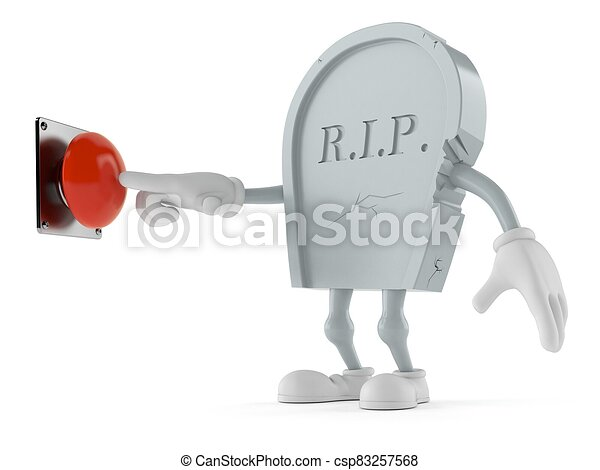 Grave character pushing button on white background - csp83257568