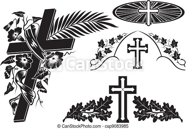 grave decoration decorating a memorial plaque cross