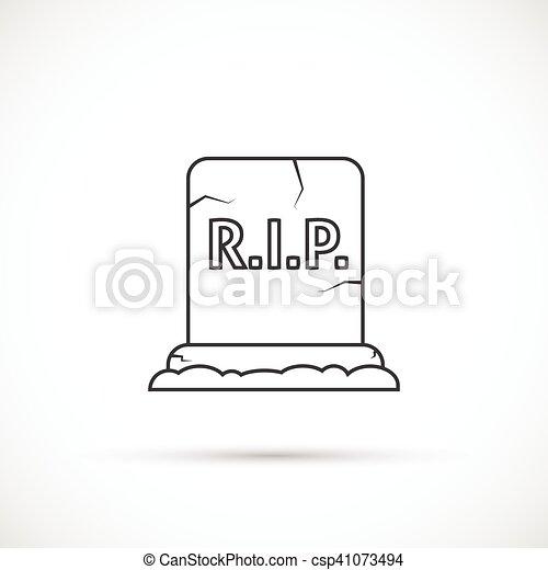 Grave outline icon - csp41073494