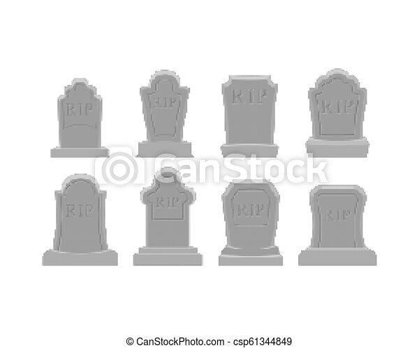 Grave pixel art set. Tomb 8 bit. Gravestone Halloween. RIP Cemetery vector illustration - csp61344849